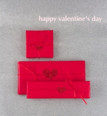 Red-on-red Valentine's wrapping