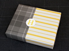 Yellow Stripe Paper with grey plaid paper
