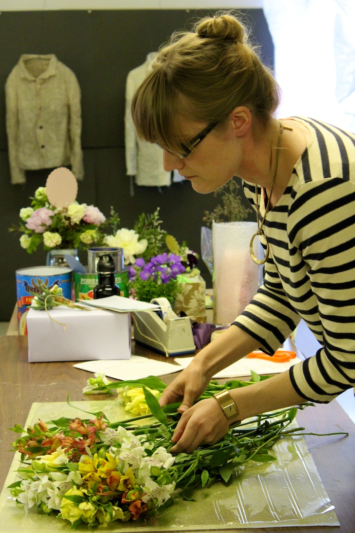 Flower Wrapping Workshop, Corinna Demonstrating how to Wrap a Bouquet
