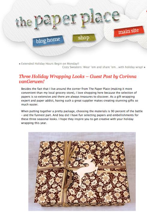 Corinna vanGerwen's Guest Post on The Paper Place Blog