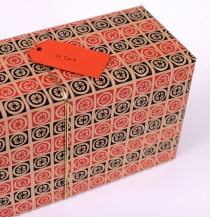 Japanese Paper: Kraft, Red, Black pattern