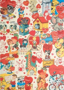 Retro Valentine's Cards gift wrap from Cavallini