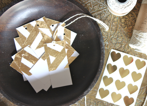 Gold-leaf gift tags, The Happy Home