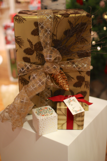 Indigo Holiday Preview 2012, gift wrapping by Corinna vanGerwen