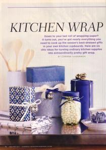 """""""Kitchen Wrap"""" byt Corinna vanGerwen, Canadian Living, Jan. 2013"""