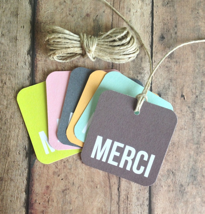 Merci gift tags from Print Smitten