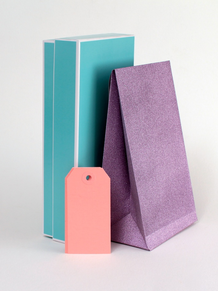 Blue box, purple glitter bag and pink gift tags from Creative Bag