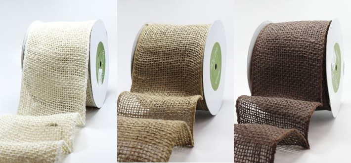 wire-edged burlap ribbon from May Arts