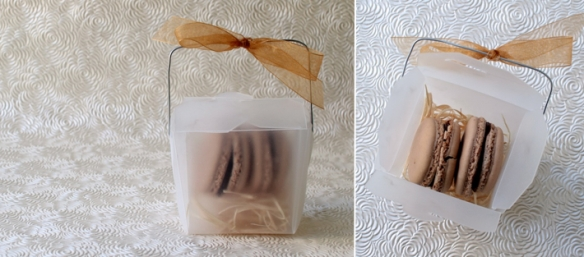 macarons favours — frosted Chinese takeout container