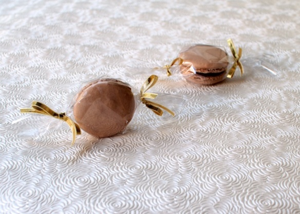 macarons favours — wrapped in cellophane to look like candy
