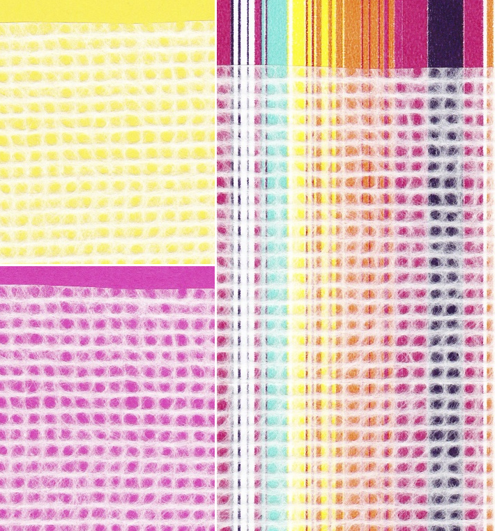 white grid tissue shown layered over various colours