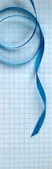 blue ribbon and grid tissue paper