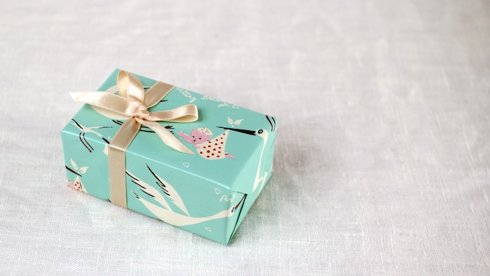 Retro wrapping paper baby gift