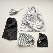 #. Black and White Drawstring Bags