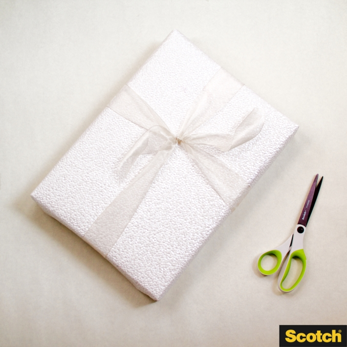 Wedding Shower Gift Wrapping: DIY Paper-Curl Pom-Pom Gift Topper | step 1: wrap your box | CorinnaWraps.wordpress.com