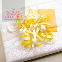 Wedding Shower Gift Wrapping: DIY Paper-Curl Pom-Pom Gift Topper | feature image | CorinnaWraps.wordpress.com