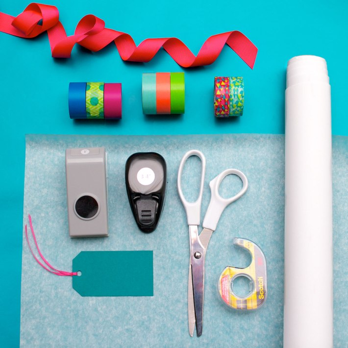 DIY Confetti-dot gift wrapping for a kid's birthday   materials and tools   CorinnaWraps.wordpress.com
