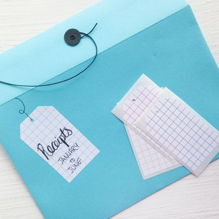 Grid gift tag stickers from Letter C Design