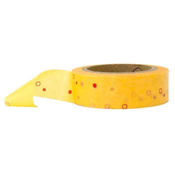 7. Yellow washi tape with red spots and circles