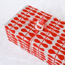 Red and white gift with sculptural topper | CorinnaWraps.wordpress.com