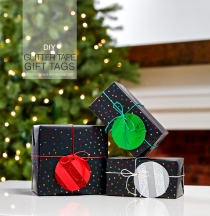 DIY Holiday Glitter-Tape Gift Tags | CorinnaWraps.wordpress.com