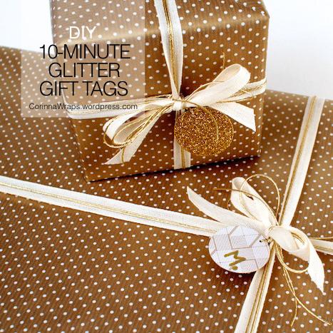 10-Minute DIY Glitter Gift Tags | CorinnaWraps.wordpress.com