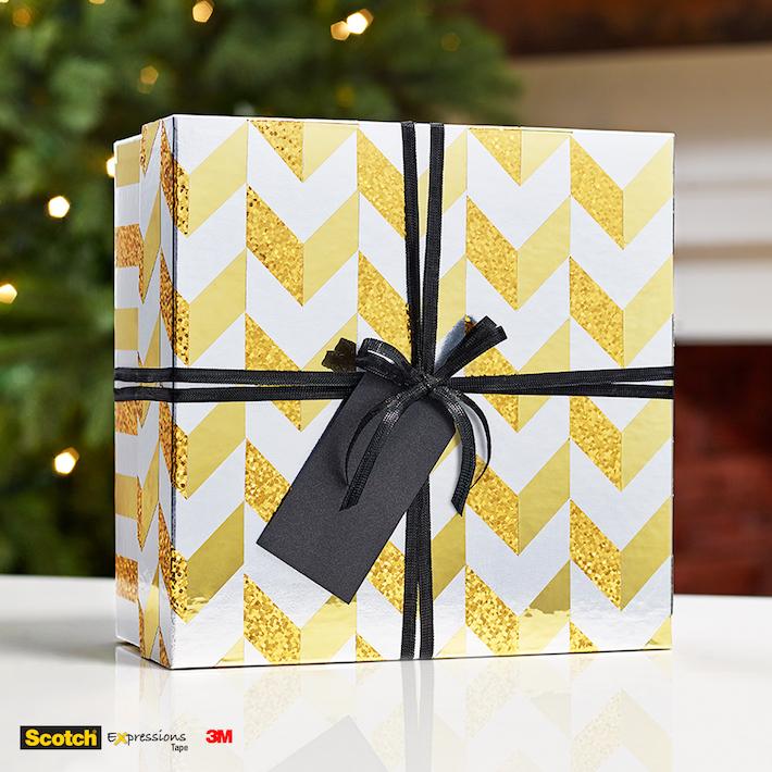 DIY Gift Box Makeover using metallic tape   CorinnaWraps.wordpress.com