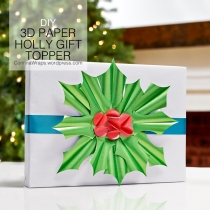 DIY 3D Paper Holly Gift Topper | CorinnaWraps.wordpress.com